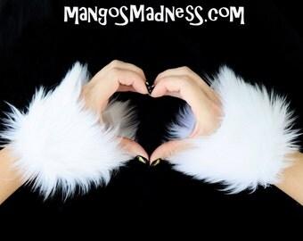 white faux fur, furry wrist cuffs, mittens, hand warmers