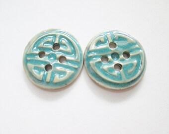 2 Large Porcelain Buttons - Blue Asian Design