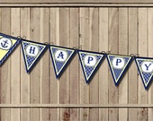 Nautical Birthday Banner, Anchor Happy Birthday banner, Sailor banner, Sailboat pennant - 1st Birthday Party PRINTABLE banner INSTANT