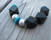 JEWELRY SALE- Turquoise Blue, Black, and Silver Wood Beaded Necklace- Wood Beaded Necklace