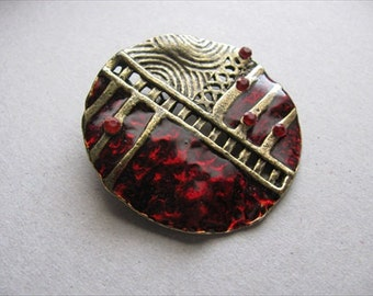 Antique Gold and Maroon Pendant