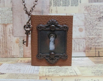 Jane Austen Book Necklace, Leather Book Lock and Key Necklace,Blank Book Jewelry, Handmade Book Necklace, Mini Book Jewelry, Literary Themed