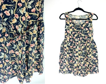 90s Floral Romper - Small Romper - Mini Shorts Jumpsuit - Ditsy Floral Dress - Small Tank Top - Floral Blouse Small