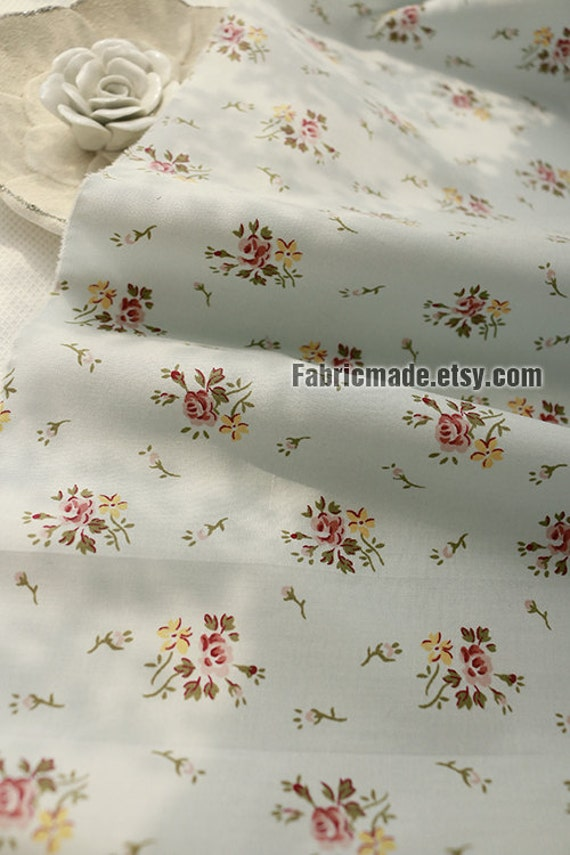 Vintage Rose Flower Cotton Fabric On Pale Aqua Blue Light Weight - 1/2 yard