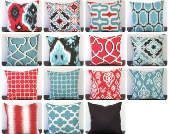 """Pillow cover 18"""" x 18"""" One cushion cover in blue red ivory black throw pillow modern decor"""