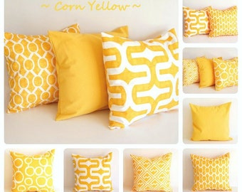 "Yellow pillow cover 16"" x 16"" One cushion cover corn yellow white throw pillow"