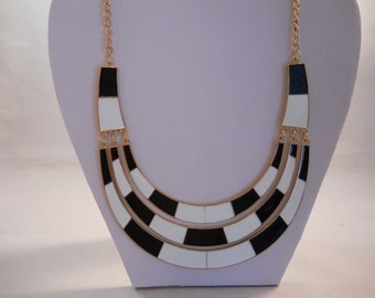 SALE Silver Tone Chain with Black and White Half Moon Pendants Bib Necklace