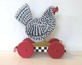 Vintage Wooden Rooster pull toy, Primitive Folk Art, Home decor