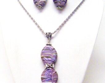 Purple Splatter Flat Oval Glass Bead Pendant Necklace & Earrings Set