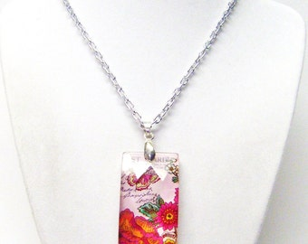 Pink & Red Flowers/Butterfly Rectangle Glass Pendant Necklace