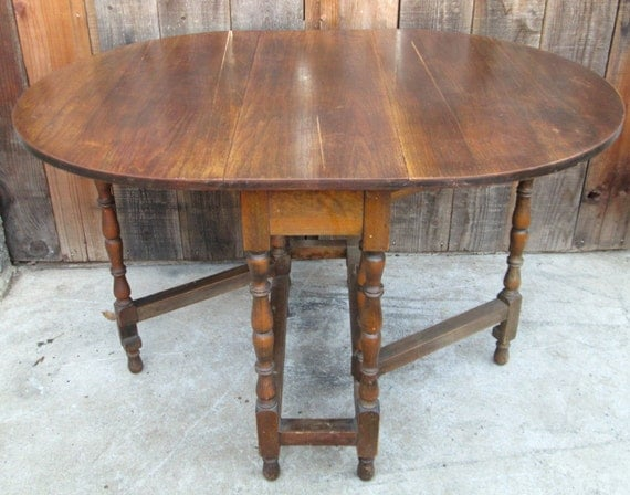 Antique Drop Leaf Table Gate Leg Walnut Wood