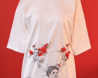 White dress, hand-embroidered, deer and roses