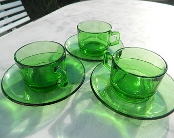 1960-70 Cups green coffee Vereco France