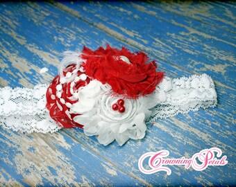 Red, white headband, Flower Headband, Girls Headband, Baby Hair Accessory, Red Hair Clip, Flower hair accessories, Photo Prop,