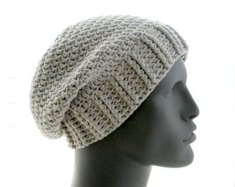 The Ribby Slouchy PDF Crochet Hat Pattern for Women and Men, Instant Download