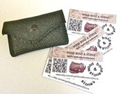 Green leather credit card / business card case