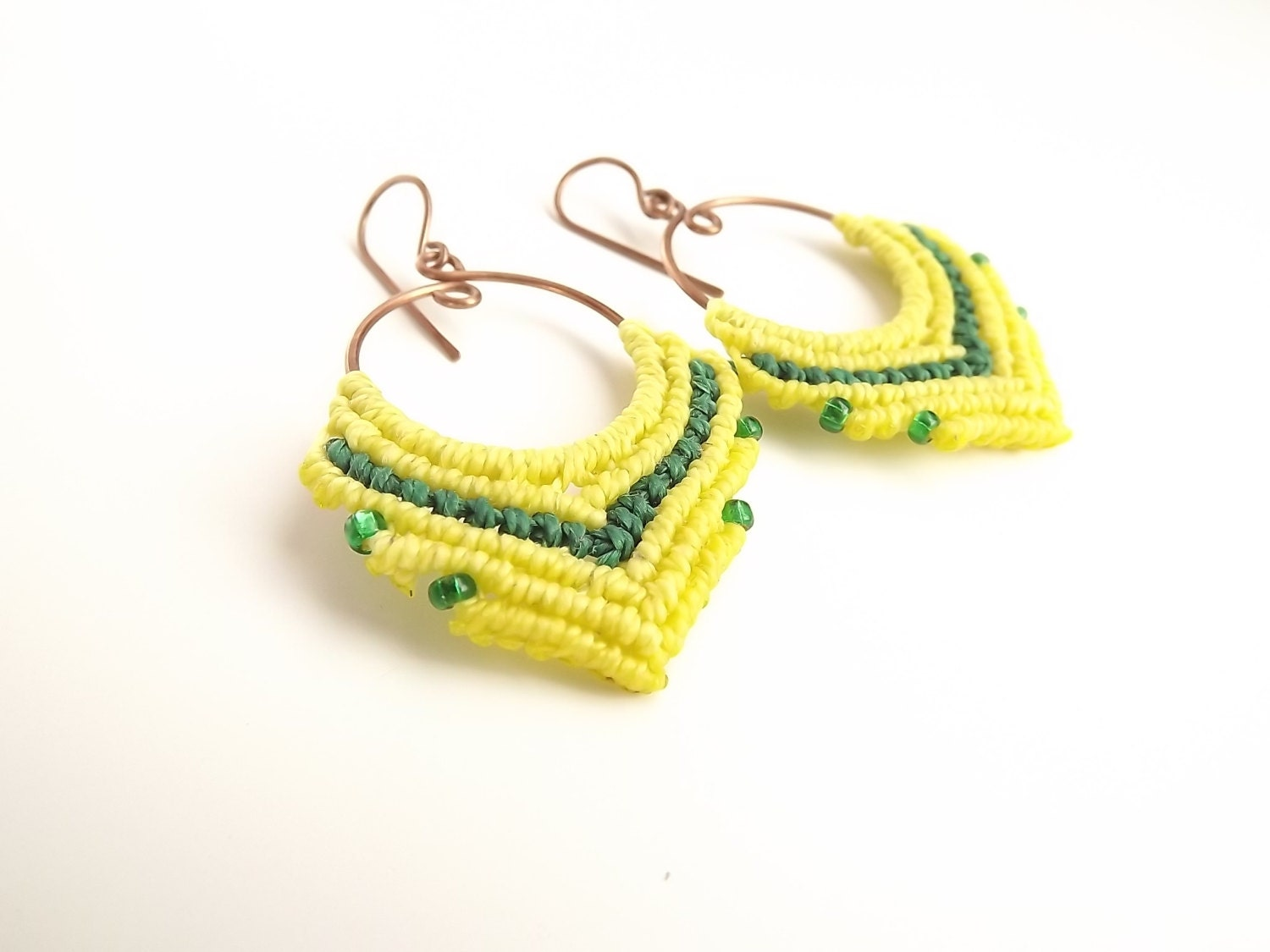 macrame hoops macrame earrings hoop earrings green and yellow earrings on 5561
