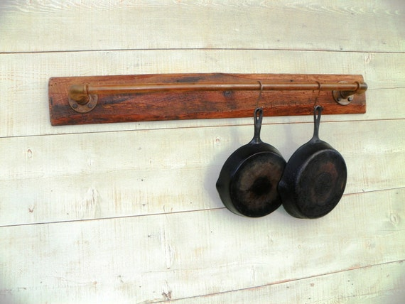 Reclaimed Industrial Wall Mounted Pot Rack Holder Quilt Rack