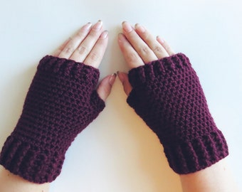 Oxblood Mittens Crochet Fingerless Mittens Wrist Warmers Gloves in Oxblood Wine Burgundy