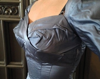 50s Classic Bombshell Blue Satin Sweetheart Ruched Bust Wiggle Dress by Edward Abbot