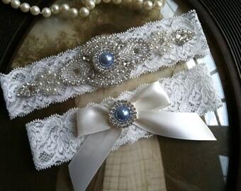 Wedding Garter-Garters-Bridal Garter-Blue-Pearl-garter-Keepsake-Something blue-Ivory Lace Garter Set-something blue-bridal white-off-white