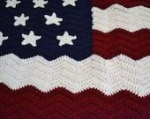 Crochet Afghan Blanket American Flag Red White Blue Patriotic Ripple Chevron Handmade Littlestsister