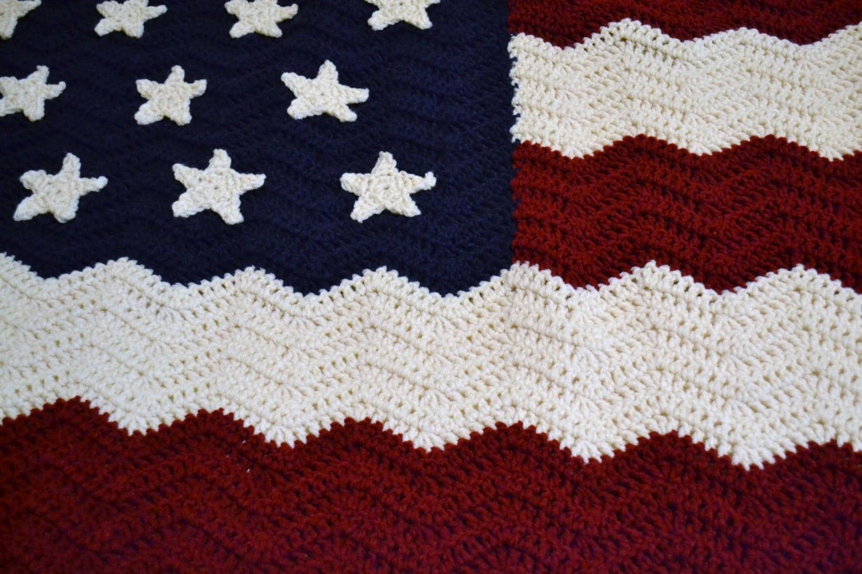 Crochet Afghan Blanket American Flag Red White Blue Patriotic