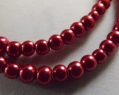 Burgundy Glass Pearls - 4mm