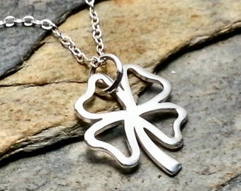 Shamrock Cutout Necklace - 925 Sterling Silver Four Leaf Clover Lucky Charm NEW
