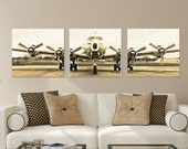 Set of 3, Vintage Airplane, Photo Canvas, Canvas Wall Art