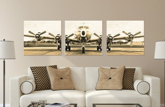 Airplane Wall Art set of 3 vintage airplane photo canvas canvas wall art