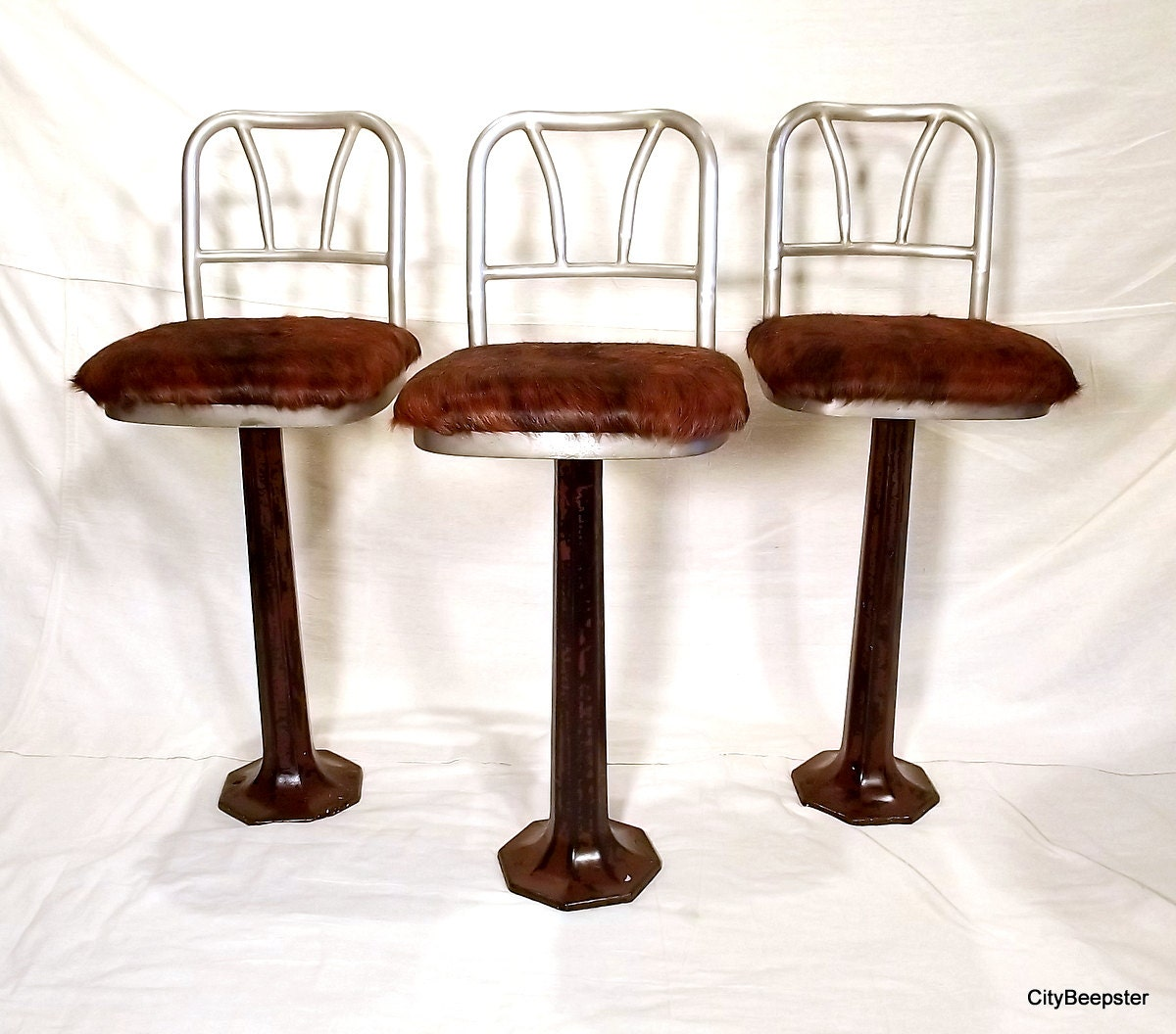 Diner Time Vintage Soda Fountain Stools Pedestal Cast Iron