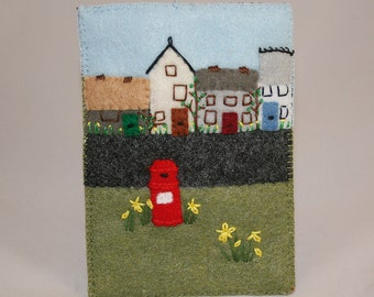Recycled Cosy Gadget Phone Case - Village in spring embroidered felt scene