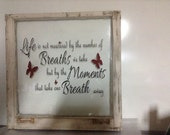 Decorative Windows with Sayings on Glass White Natural Finish on Frame