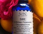 She, A Celebration of the Divine Feminine.  Aroma Mist in 2 oz glass bottle (may be amber or cobalt blue)