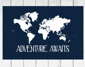 World Map Custom Canvas Prints - Nursery and Home Decor Canvas - Choose Size and Colors