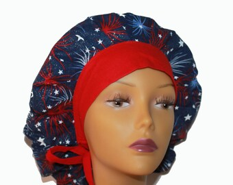 Bouffant Scrub Hat with ties - Fourth of July Patriotic Scrub Hat - Fireworks with Stars Glitter bouffant scrub hat - Ponytail Scrub hat