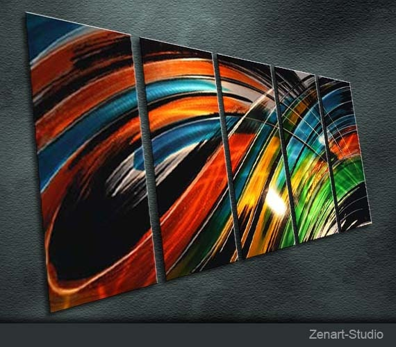 """Original Metal Wall Art Modern Abstract Painting Sculpture Indoor Outdoor Decor """"Illusion of color"""" by Ning"""