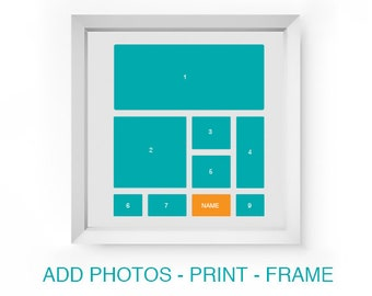 Digital Square Photo Collage Template Storyboard Scrapbooking Photo Board for Baby or Family Photographers Photoshop PSD Scrapbook Template
