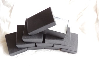"""Lot of 50 Matte Black Cotton Filled  Jewelry Boxes 3.25""""x2.25""""x1"""", Retail boxes, Gift boxes, Favor Boxes"""
