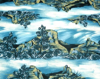 SALE--Retro Fabric, Beautiful Blues and Greens, Southwest Landscape Scene, Polyester, Merry Mary Fabrics