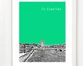St. Charles Illinois Skyline Art Print - St. Charles IL Poster - St. Charles Gift