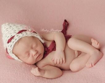 "Newborn Baby Girls ""Cherry Blossom"" Pixie Bonnet Hat with Silk Sari Ribbon Ties, Flowers & Beads Crochet Mohair Photography Prop. UK Seller."