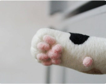 Cat hand paw Magnet - needle felted wool, magnet