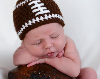 Crochet baby beanie FOOTBALL hat  premie newborn 0-3 month infant - white pink or blue boy or girl photography photo prop