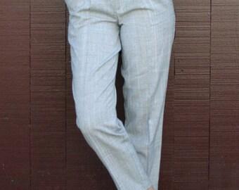 Vintage 1980's Slate Gray Subtle Plaid Tailored Trousers S