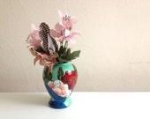 Mint Floral Vase - Bookshelf Accessory - Home Accent