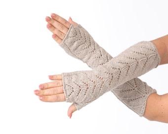 Knit fingerless gloves Beige Long lace Fingerless Lace Fingerless mittens Arm Warmer Gloves Long Fingerless Lace gloves