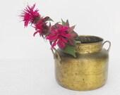 Vintage Farmhouse Double Handled Copper Pot with Lid, Rustic, Primitive, Simmer Pot, Planter, Spitune