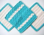 Soft Natural Dish Cloths Wash Cloths  Hand Crocheted  Robins Egg Blue